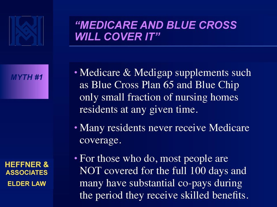 Many residents never receive Medicare coverage.