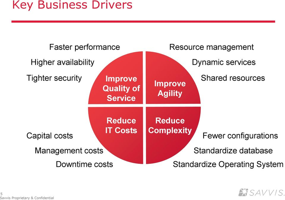 Shared resources Capital costs Management costs Downtime costs Reduce IT Costs