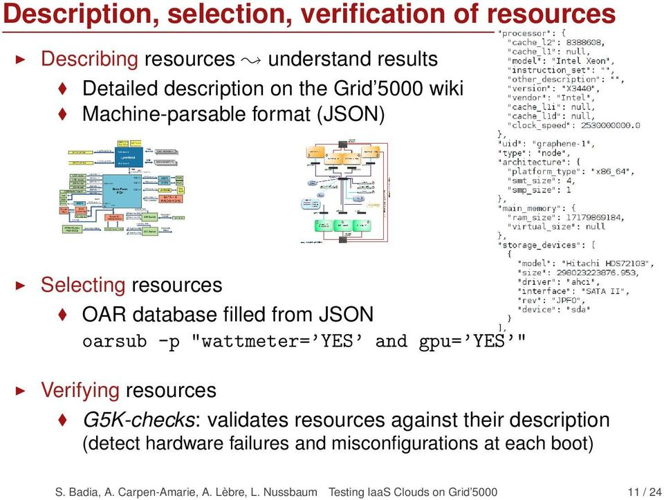 "and gpu= YES "" Verifying resources G5K-checks: validates resources against their description (detect hardware failures"