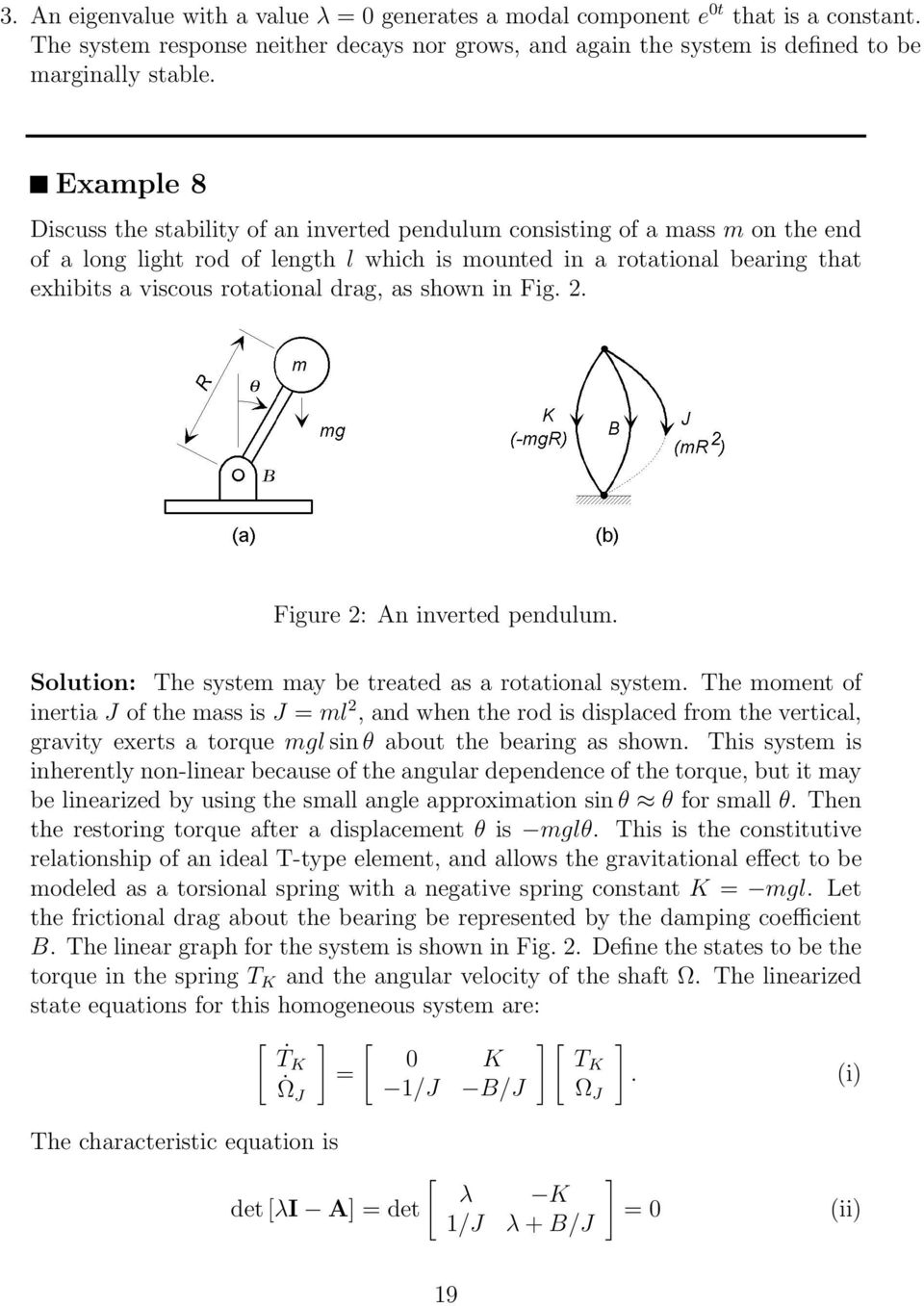 drag, as shown in Fig. 2. Figure 2: An inverted pendulum. Solution: The system may be treated as a rotational system.