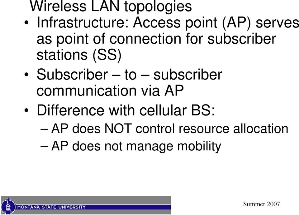 to subscriber communication via AP Difference with cellular BS: