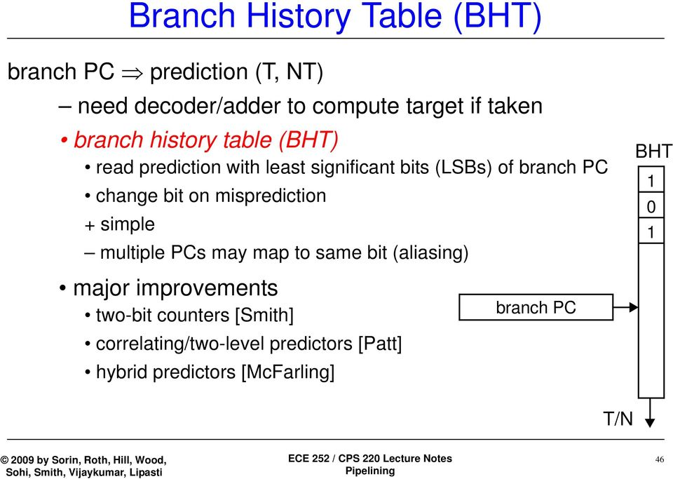 on misprediction + simple multiple PCs may map to same bit (aliasing) BHT 1 0 1 major improvements