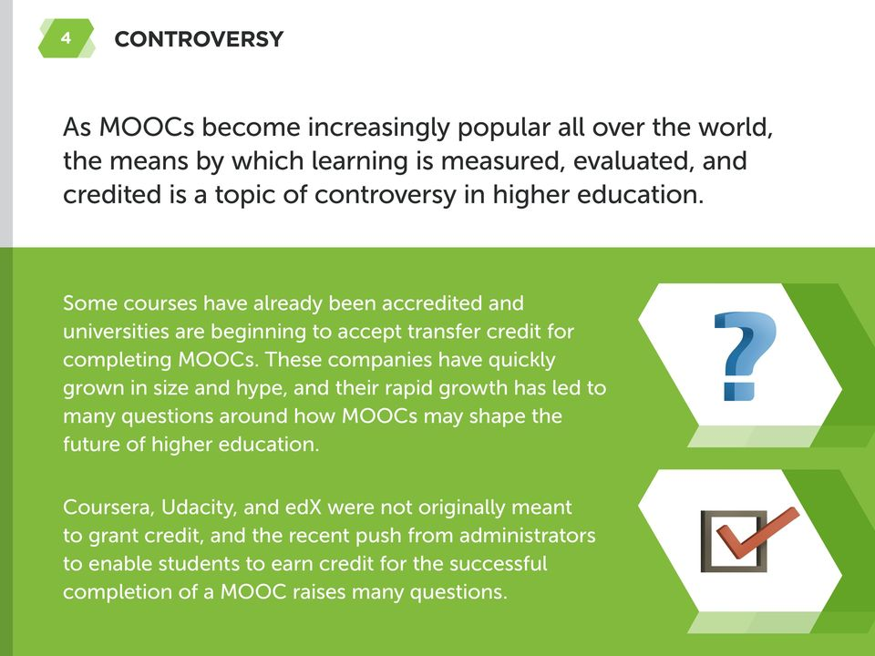 These companies have quickly grown in size and hype, and their rapid growth has led to many questions around how MOOCs may shape the future of higher education.