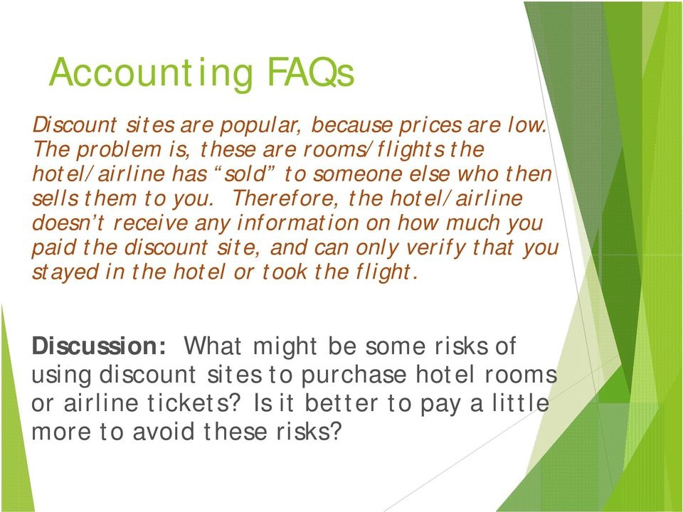 Therefore, the hotel/airline doesn t receive any information on how much you paid the discount site, and can only verify