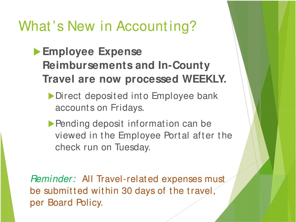 Direct deposited into Employee bank accounts on Fridays.