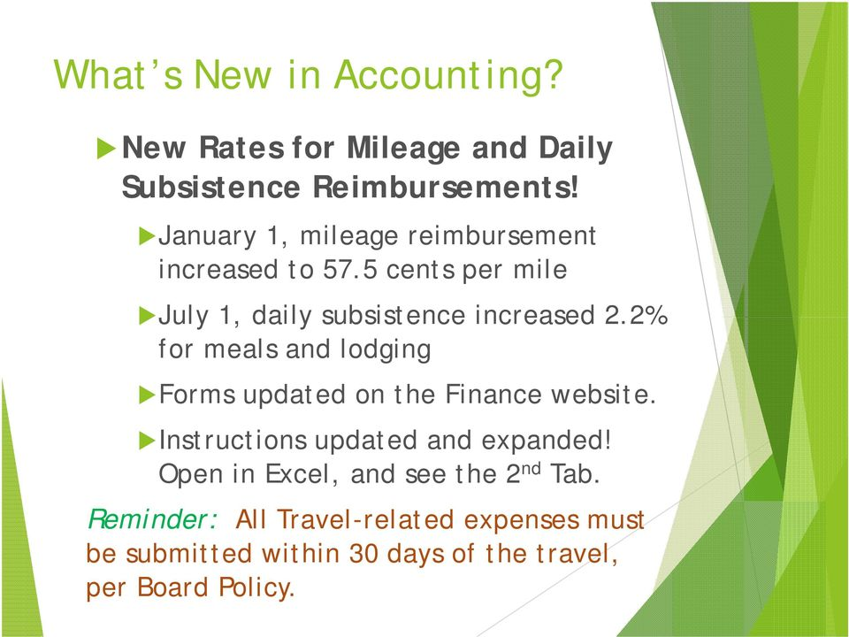 2% for meals and lodging Forms updated on the Finance website. Instructions updated and expanded!