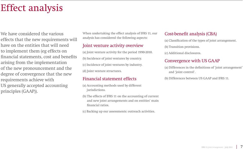 When undertaking the effect analysis of IFRS 11, our analysis has considered the following aspects: Joint venture activity overview (a) Joint venture activity for the period 1990-2010.