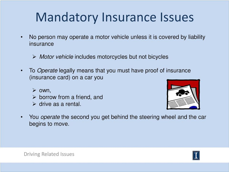that you must have proof of insurance (insurance card) on a car you own, borrow from a friend,