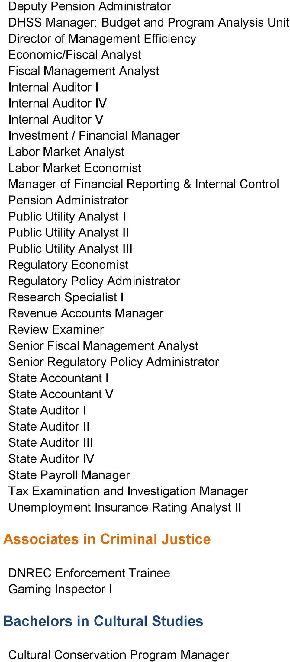 Utility Analyst II Public Utility Analyst III Regulatory Economist Regulatory Policy Administrator Research Specialist I Revenue Accounts Manager Review Examiner Senior Fiscal Management Analyst
