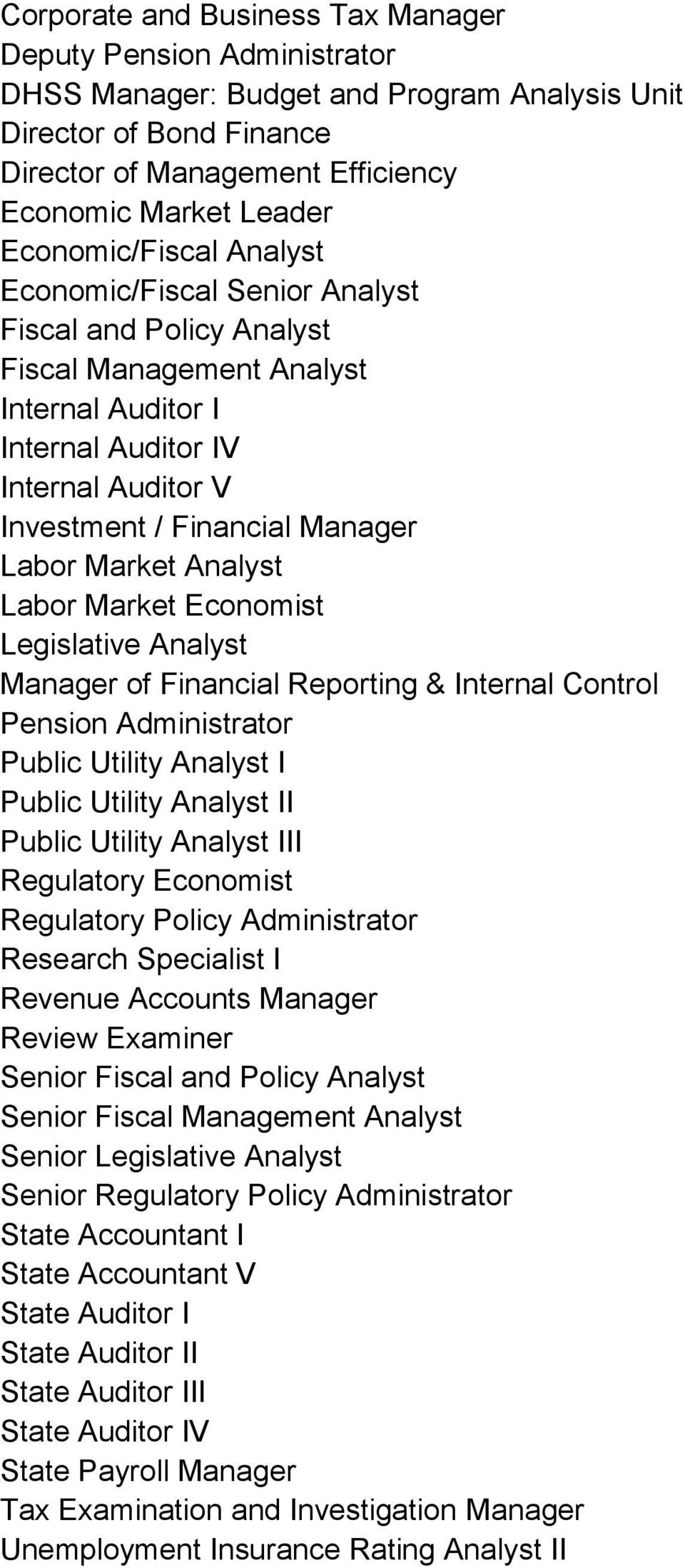 Labor Market Analyst Labor Market Economist Legislative Analyst Manager of Financial Reporting & Internal Control Pension Administrator Public Utility Analyst I Public Utility Analyst II Public