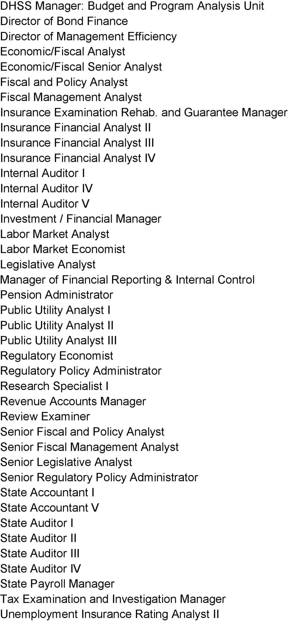 and Guarantee Manager Insurance Financial Analyst II Insurance Financial Analyst III Insurance Financial Analyst IV Internal Auditor I Internal Auditor IV Internal Auditor V Investment / Financial