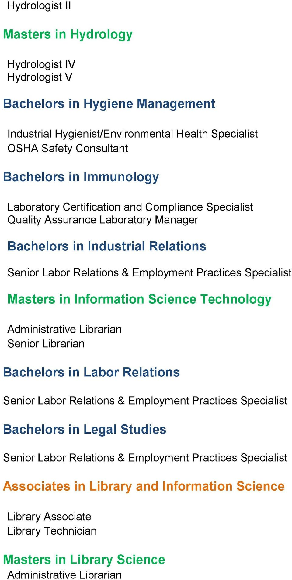 Masters in Information Science Technology Administrative Librarian Senior Librarian Bachelors in Labor Relations Senior Labor Relations & Employment Practices Specialist Bachelors in Legal