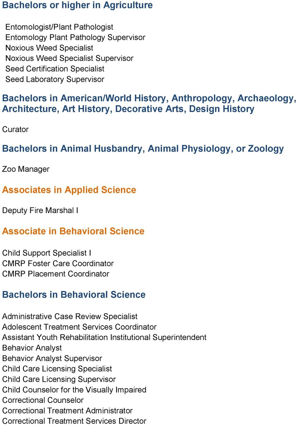 Physiology, or Zoology Zoo Manager Associates in Applied Science Deputy Fire Marshal I Associate in Behavioral Science Child Support Specialist I CMRP Foster Care Coordinator CMRP Placement
