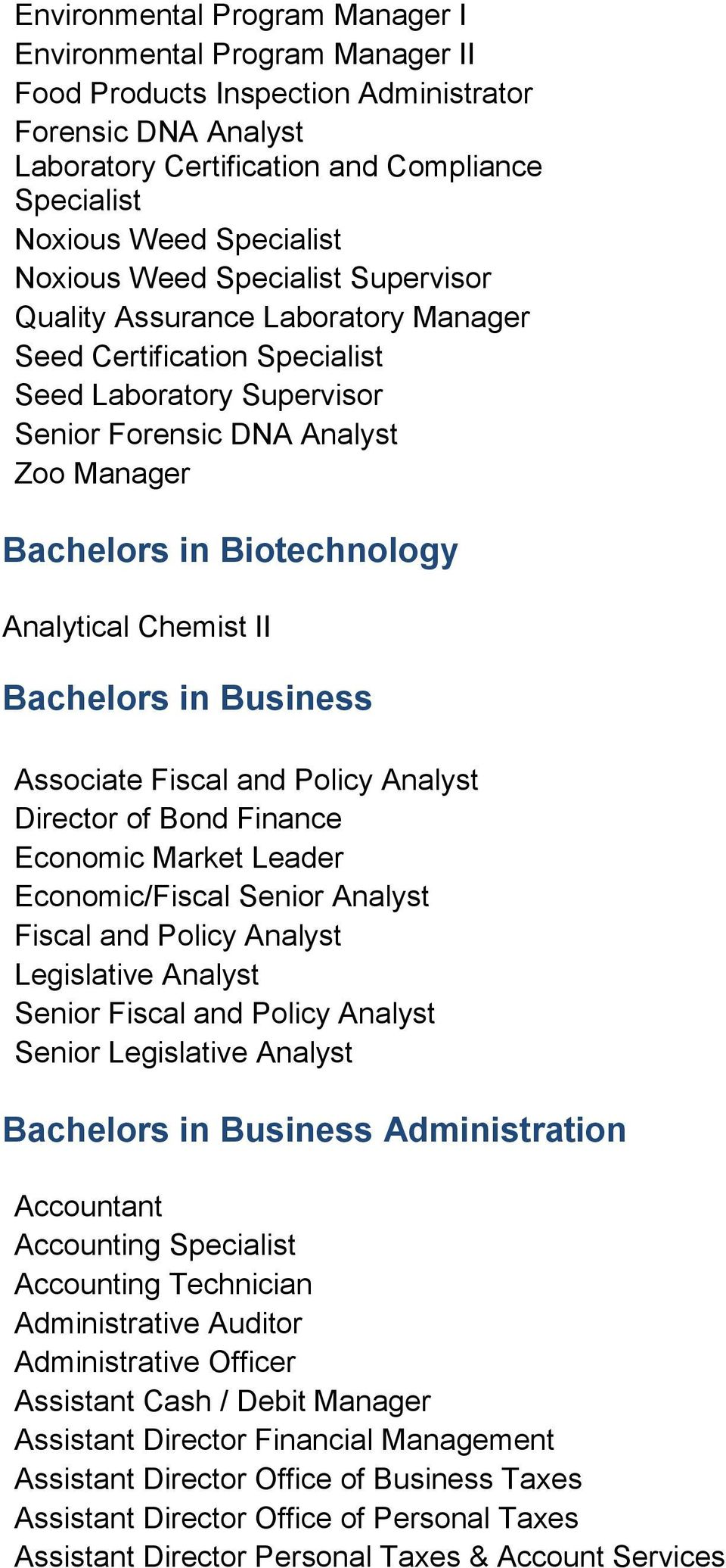 Analytical Chemist II Bachelors in Business Associate Fiscal and Policy Analyst Director of Bond Finance Economic Market Leader Economic/Fiscal Senior Analyst Fiscal and Policy Analyst Legislative