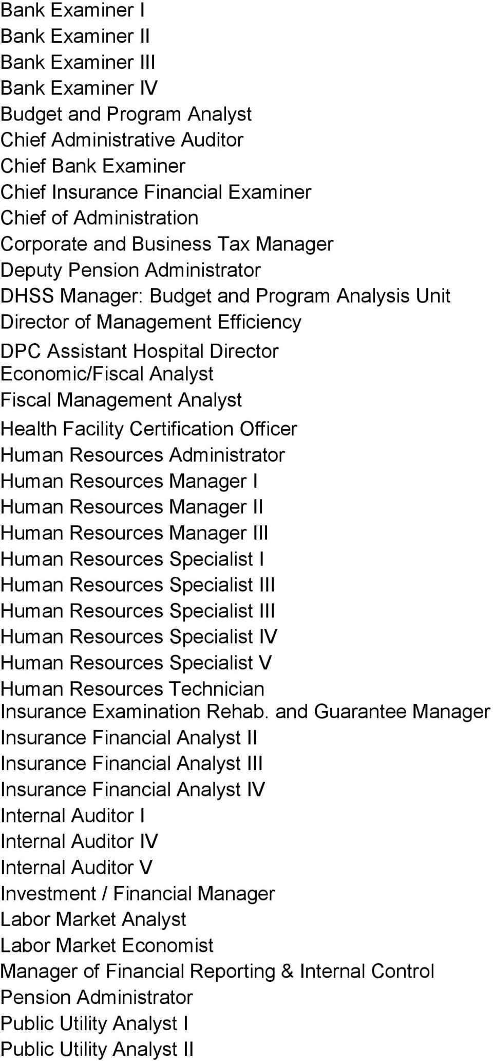 Economic/Fiscal Analyst Fiscal Management Analyst Health Facility Certification Officer Human Resources Administrator Human Resources Manager I Human Resources Manager II Human Resources Manager III