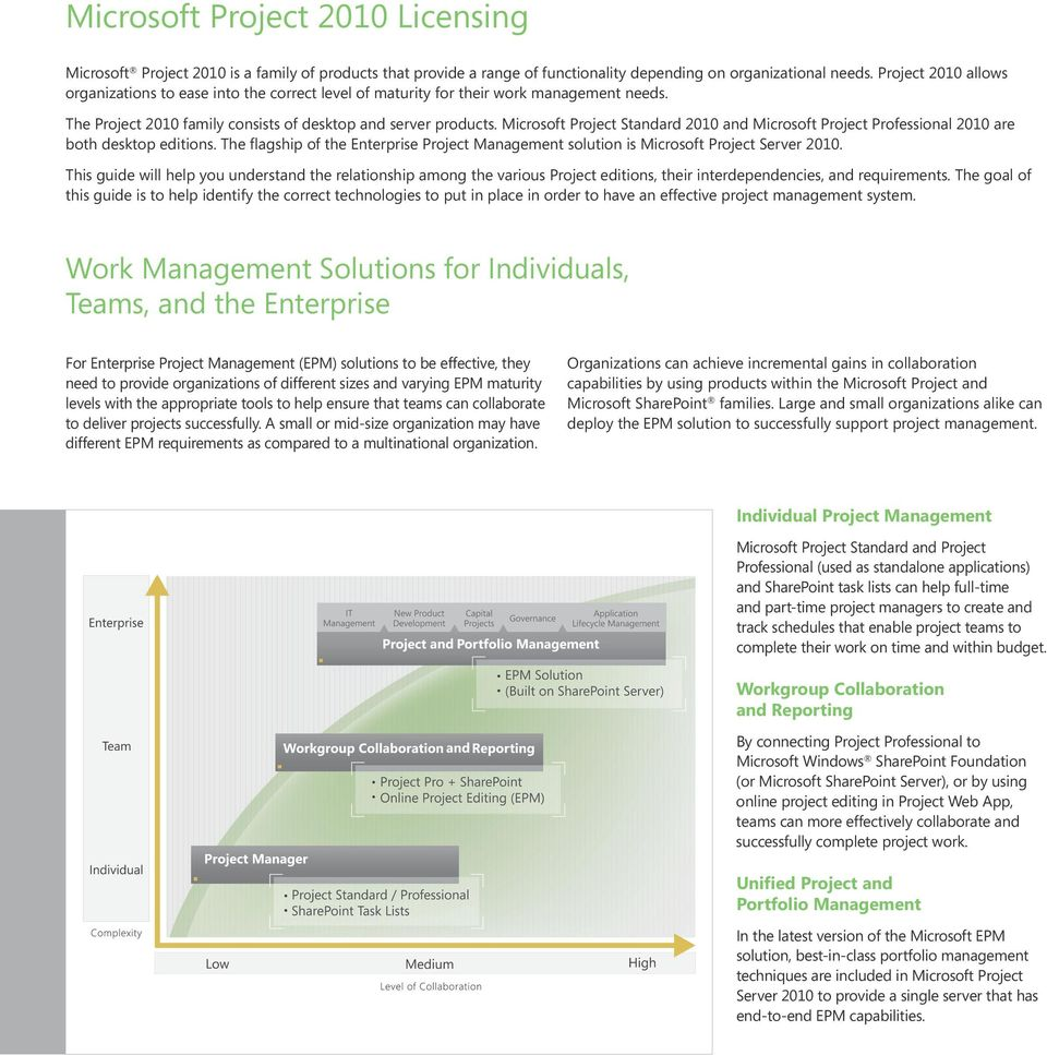 Microsoft Project Standard 2010 and Microsoft Project Professional 2010 are both desktop editions. The flagship of the Enterprise Project Management solution is Microsoft Project Server 2010.