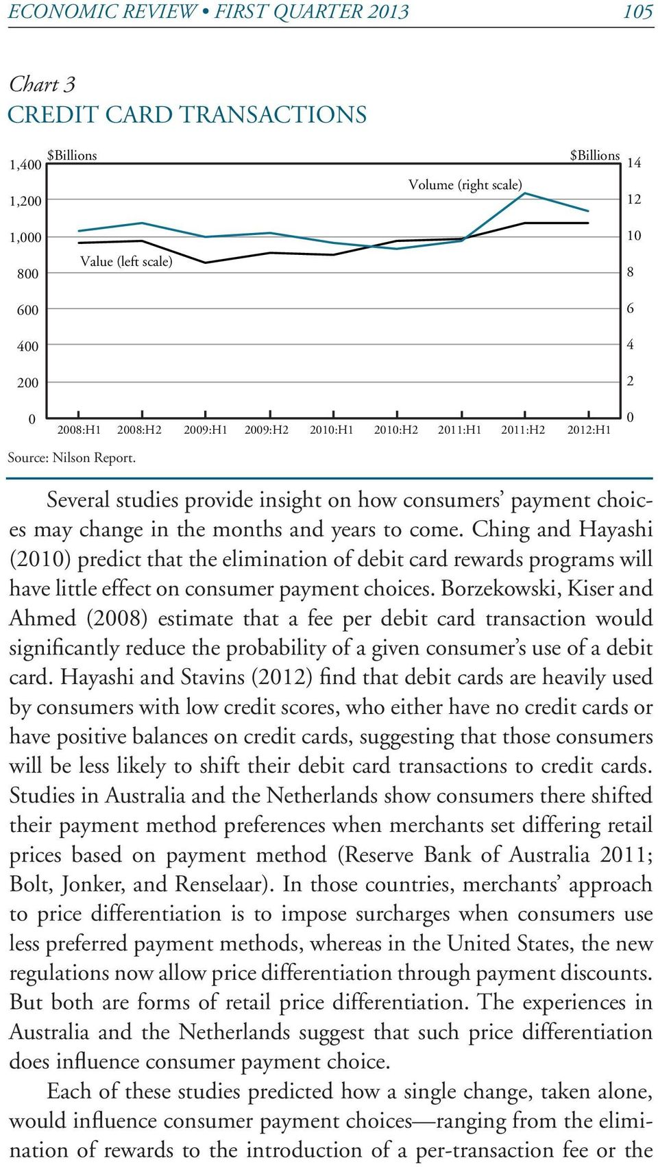 Ching and Hayashi (2010) predict that the elimination of debit card rewards programs will have little effect on consumer payment choices.