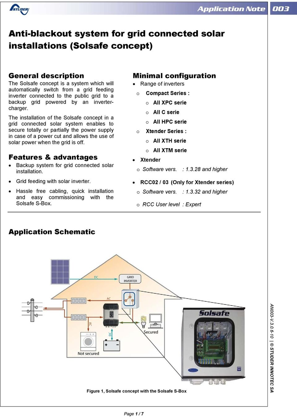 The installation of the Solsafe concept in a grid connected solar system enables to secure totally or partially the power supply in case of a power cut and allows the use of solar power when the grid
