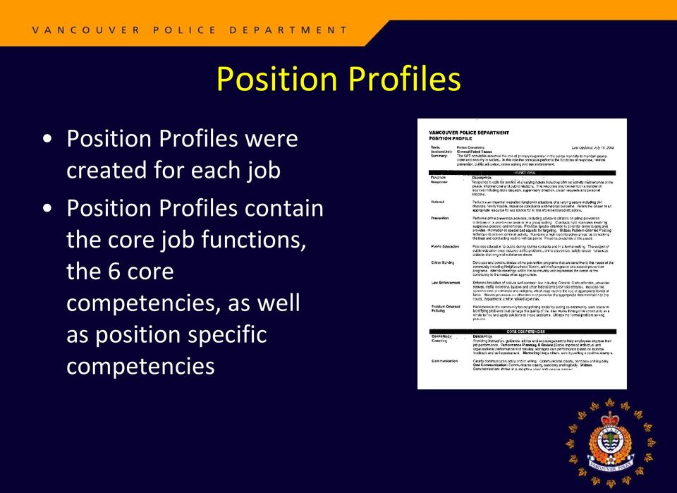 functions, the 6 core competencies, as well