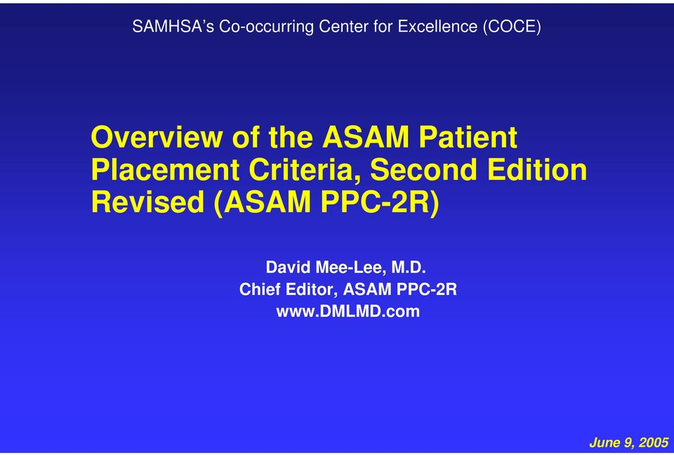 Second Edition Revised (ASAM PPC-2R) David Mee-Lee,