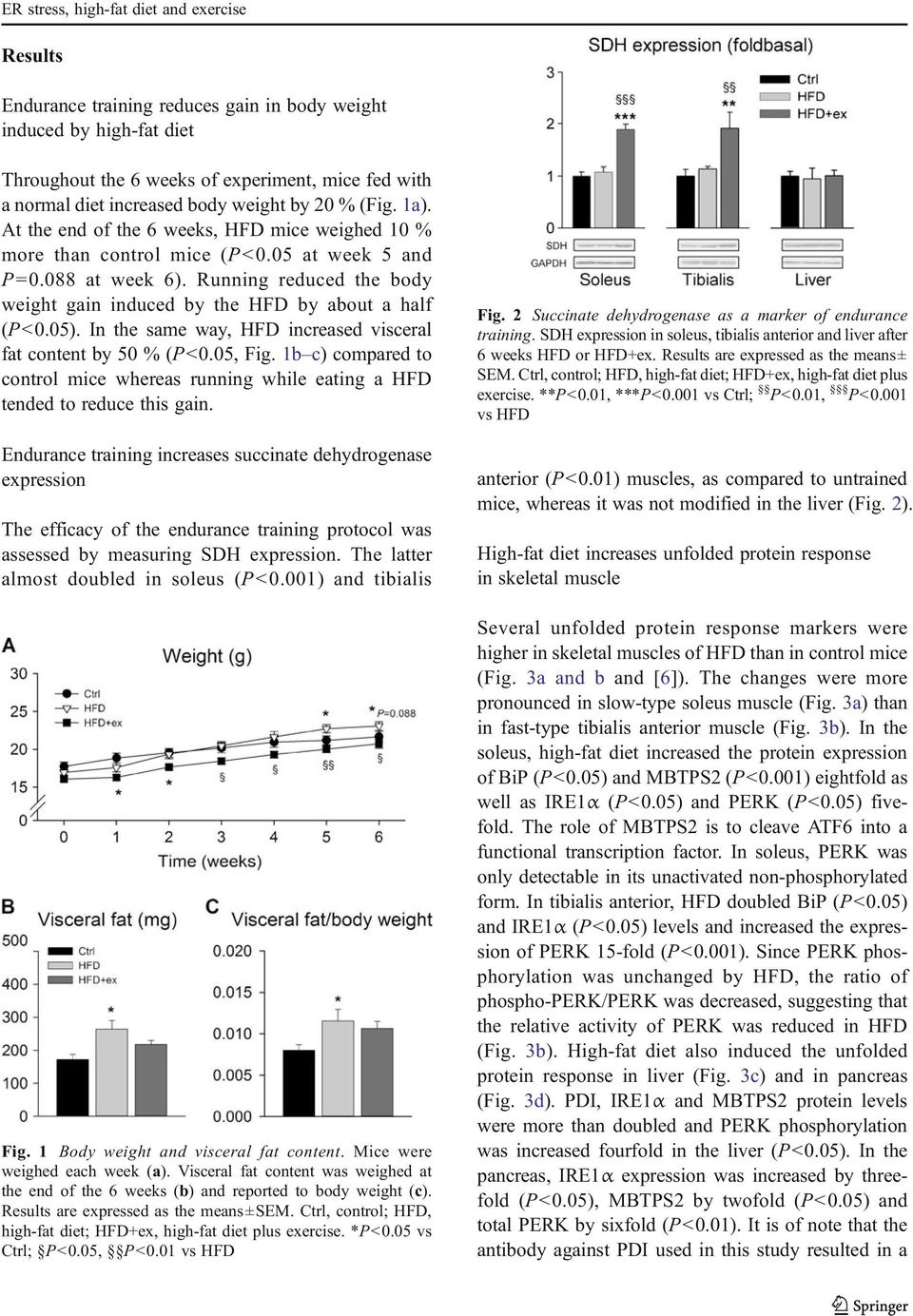 Running reduced the body weight gain induced by the HFD by about a half (P<0.05). In the same way, HFD increased visceral fat content by 50 % (P<0.05, Fig.
