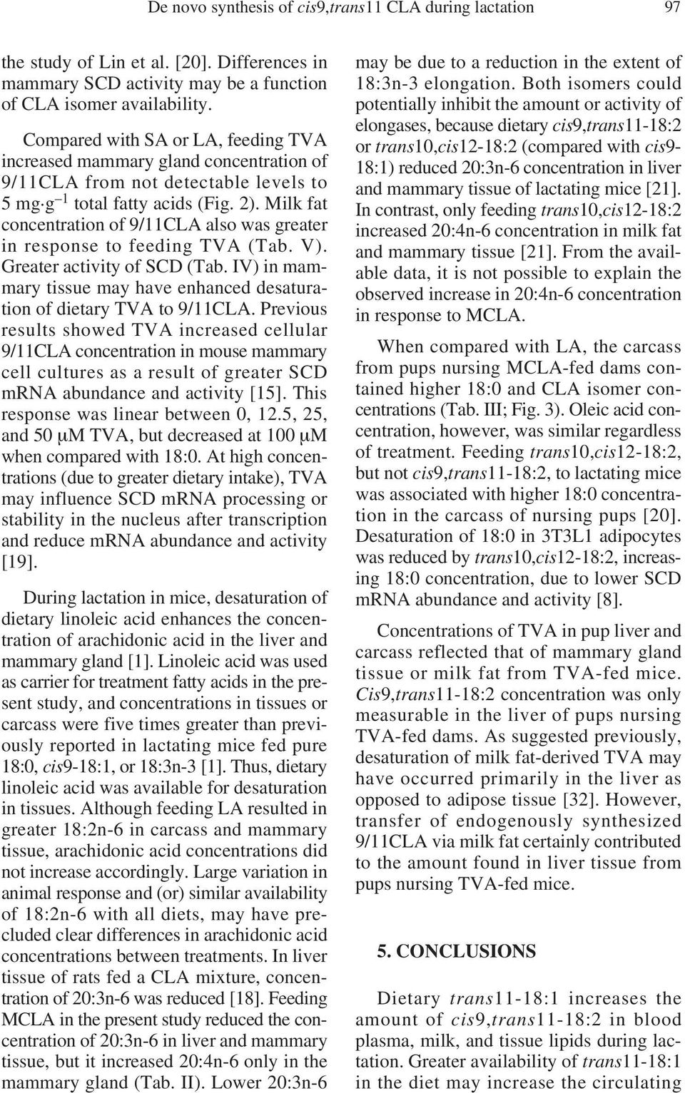 Milk fat concentration of 9/11CLA also was greater in response to feeding TVA (Tab. V). Greater activity of SCD (Tab. IV) in mammary tissue may have enhanced desaturation of dietary TVA to 9/11CLA.