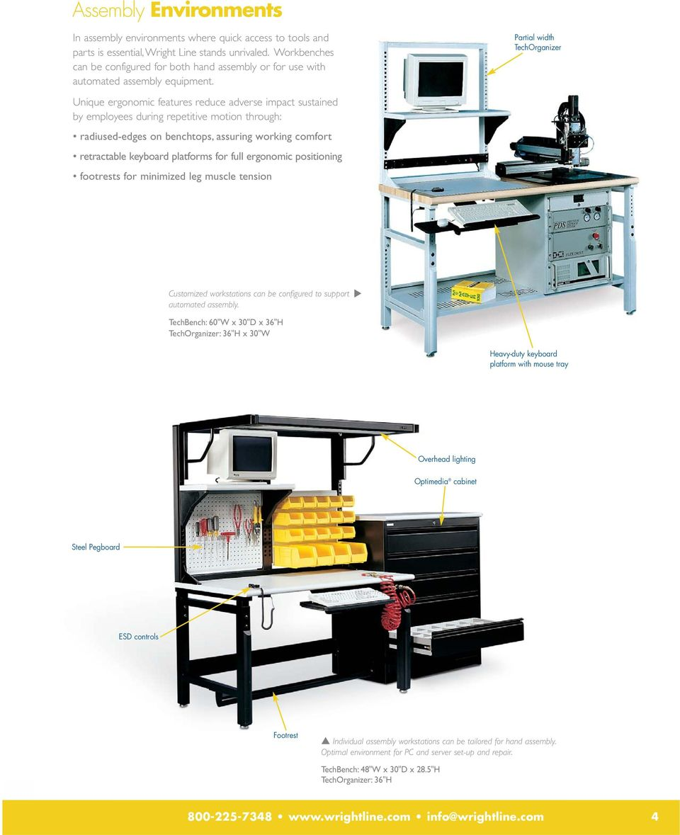 Partial width Unique ergonomic features reduce adverse impact sustained by employees during repetitive motion through: radiused-edges on benchtops, assuring working comfort retractable keyboard