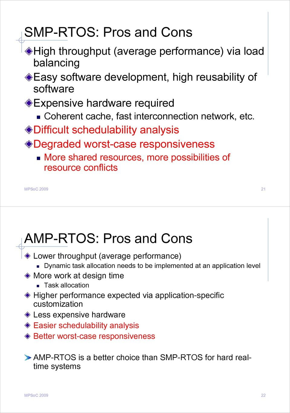 Difficult schedulability analysis Degraded worst-case responsiveness More shared resources, more possibilities of resource conflicts MPSoC 2009 21 AMP-RTOS: Pros and Cons Lower throughput
