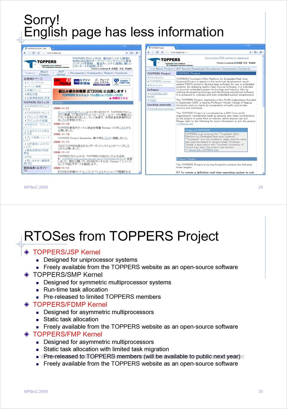 open-source software TOPPERS/SMP Kernel Designed for symmetric multiprocessor systems Run-time task allocation Pre-released to limited TOPPERS members TOPPERS/FDMP Kernel Designed for