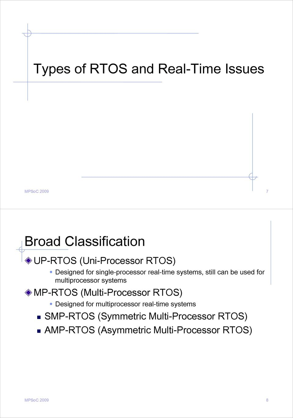 systems MP-RTOS (Multi-Processor RTOS) Designed for multiprocessor real-time systems