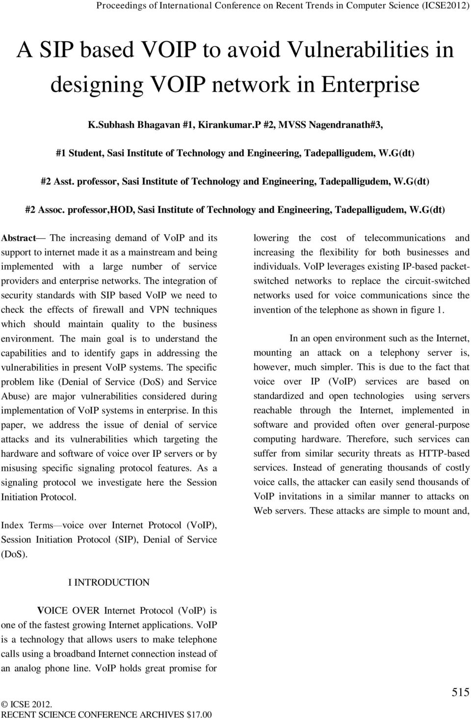 G(dt) #2 Assoc. professor,hod, Sasi Institute of Technology and Engineering, Tadepalligudem, W.