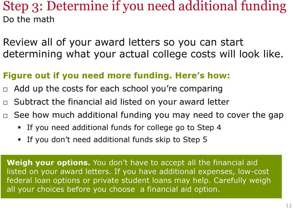 Here s how: Add up the costs for each school you re comparing Subtract the financial aid listed on your award letter See how much additional funding you may need to cover the gap If you need