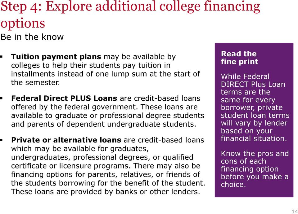 These loans are available to graduate or professional degree students and parents of dependent undergraduate students.