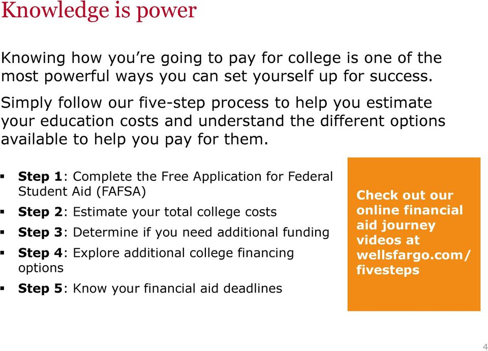 Step 1: Complete the Free Application for Federal Student Aid (FAFSA) Step 2: Estimate your total college costs Step 3: Determine if you need additional