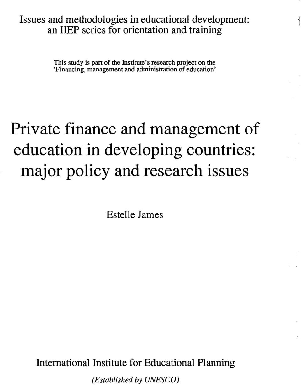 administration of education' Private finance and management of education in developing countries: