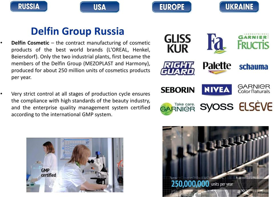 Only the two industrial plants, first became the members of the Delfin Group (MEZOPLAST and Harmony), produced for about 250 million