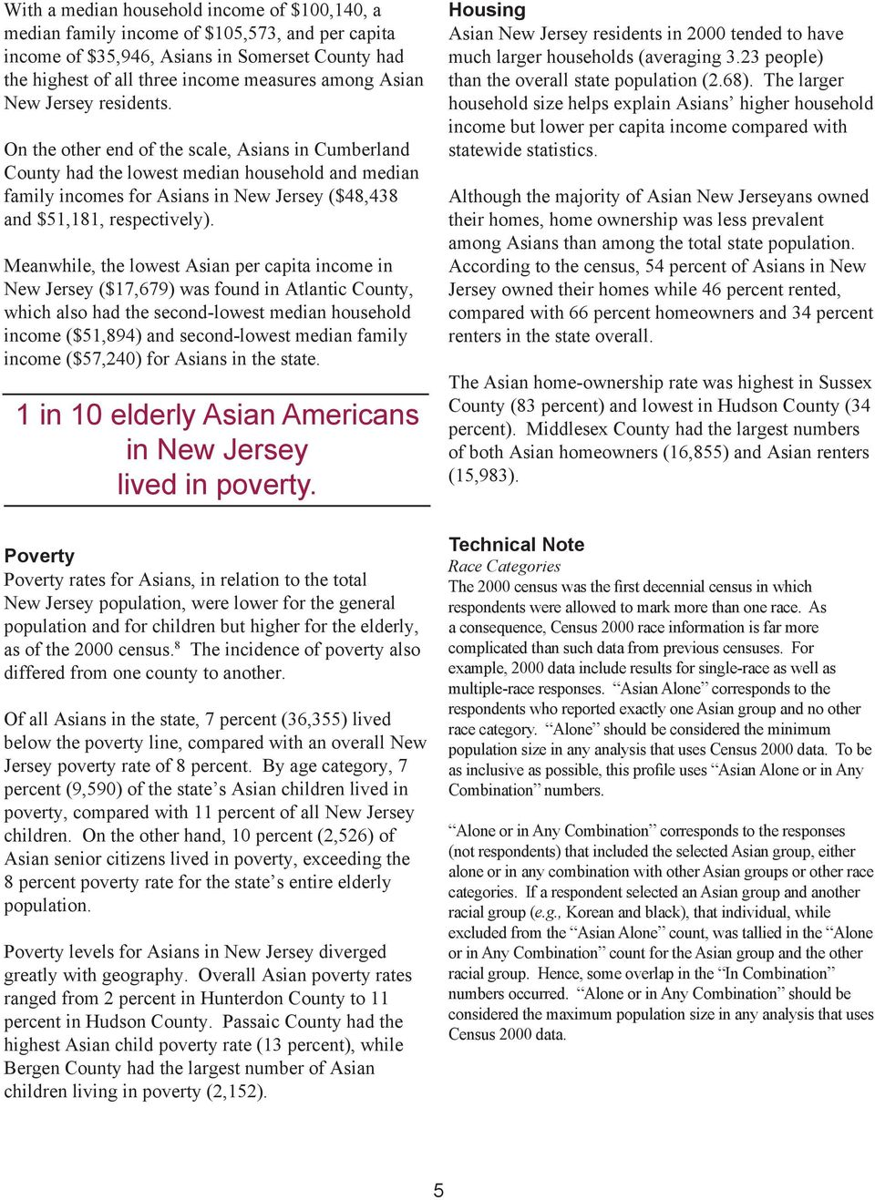 Meanwhile, the lowest Asian per capita income in New Jersey ($17,679) was found in Atlantic, which also had the second-lowest median household income ($51,894) and second-lowest median family income
