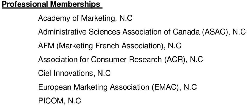 C AFM (Marketing French Association), N.