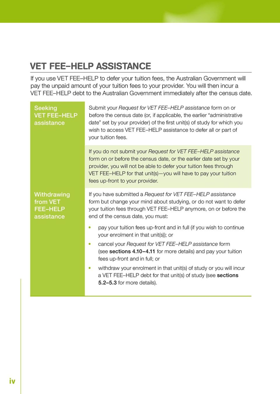 Seeking VET FEE HELP assistance Submit your Request for VET FEE HELP assistance form on or before the census date (or, if applicable, the earlier administrative date set by your provider) of the fi