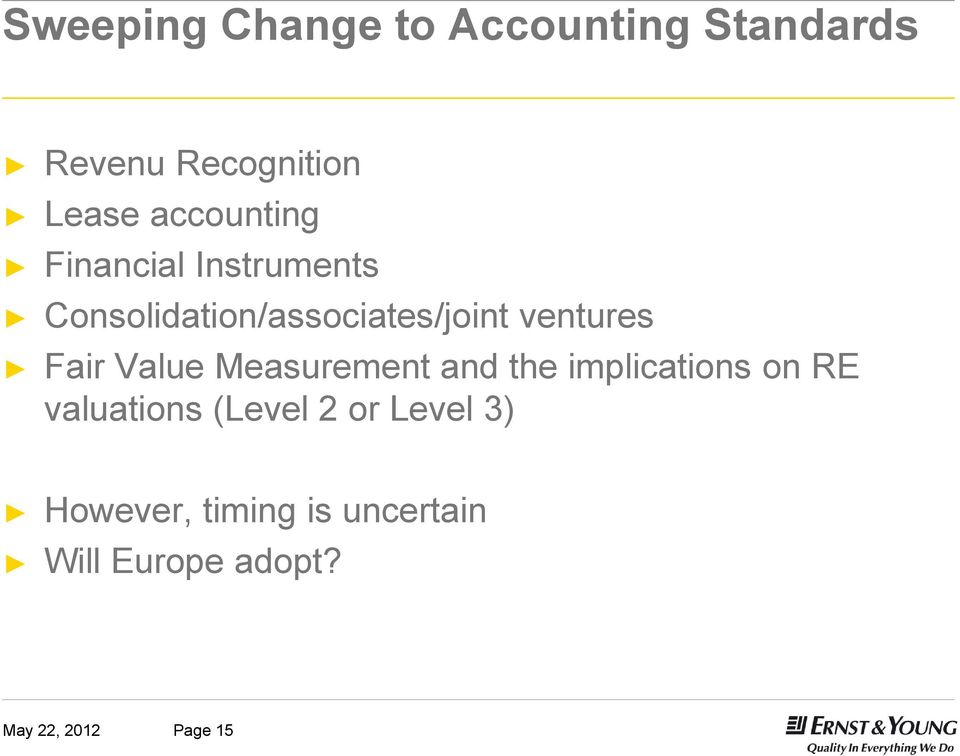 ventures Fair Value Measurement and the implications on RE valuations