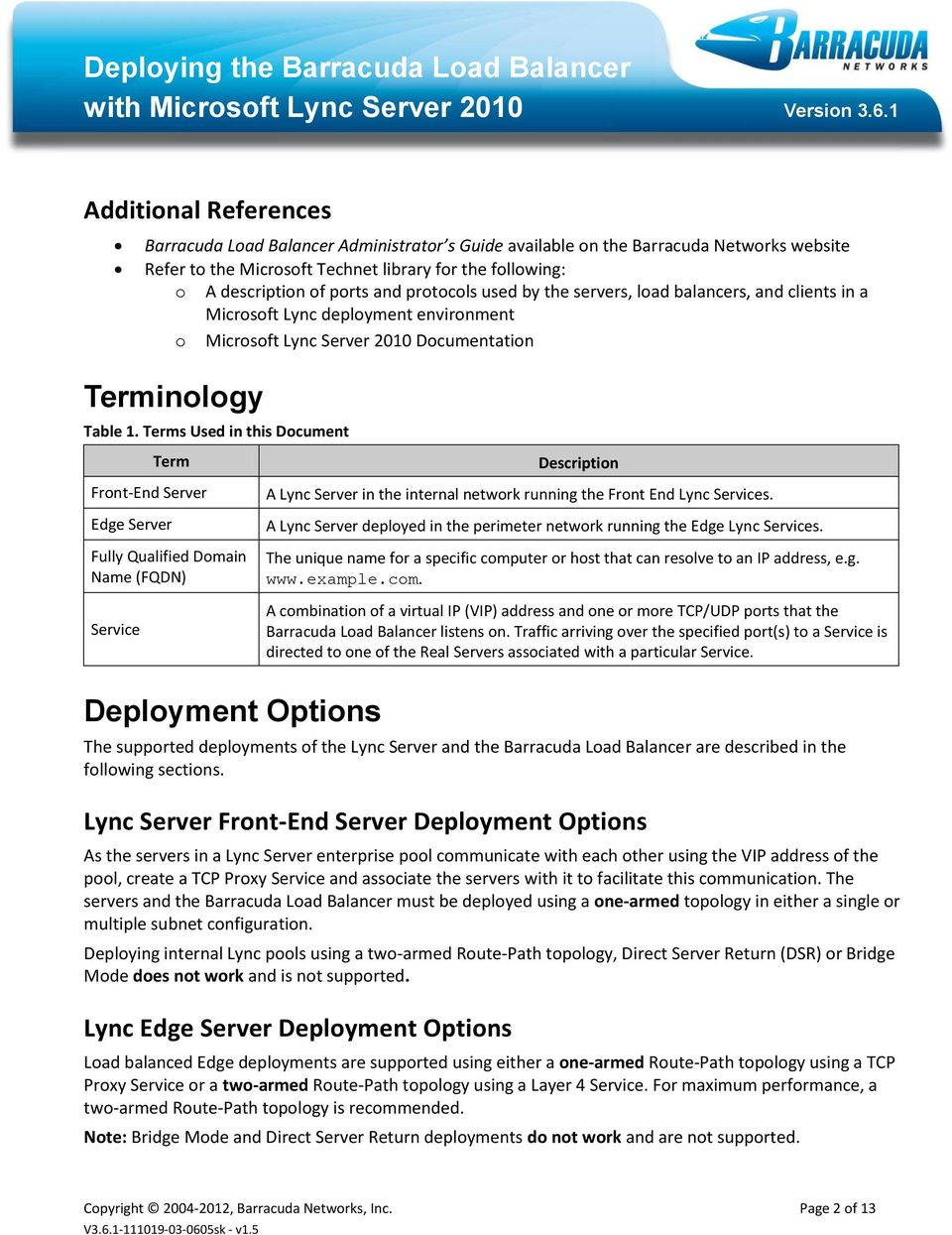 Terms Used in this Document Term Front-End Server Edge Server Fully Qualified Domain Name (FQDN) Service Deployment Options Description A Lync Server in the internal network running the Front End