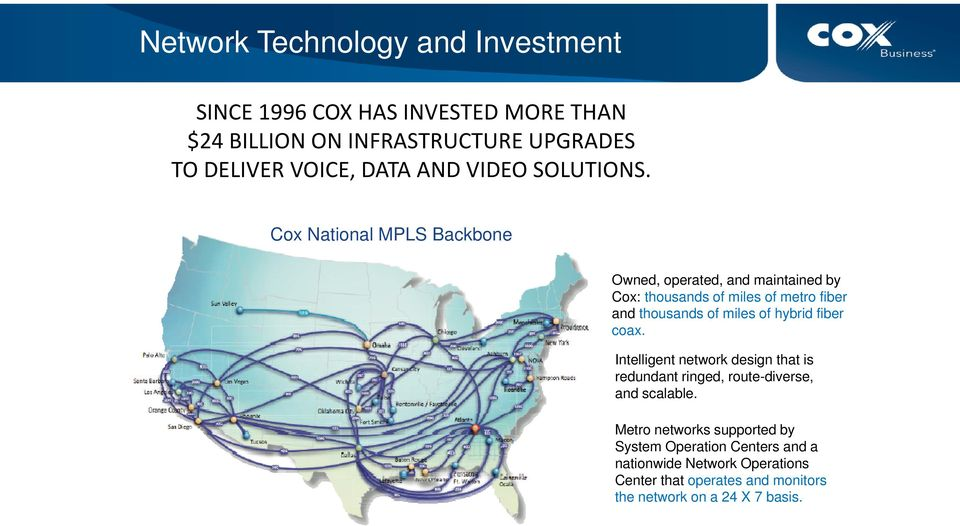 Cox National MPLS Backbone Owned, operated, and maintained by Cox: thousands of miles of metro fiber and thousands of miles of hybrid