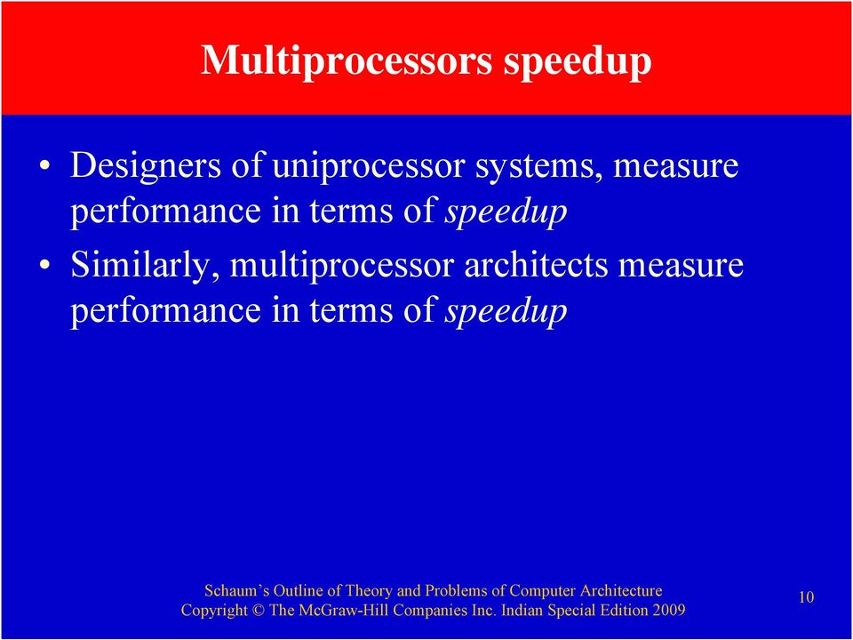 terms of speedup Similarly, multiprocessor