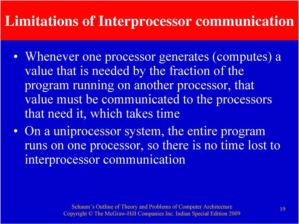 must be communicated to the processors that need it, which takes time On a uniprocessor
