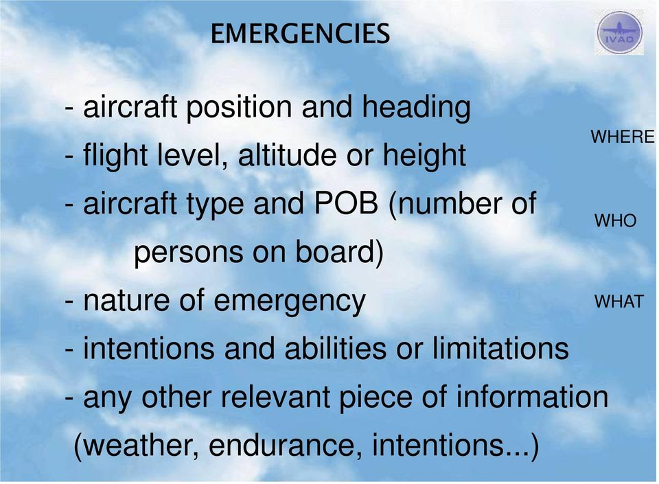 emergency - intentions and abilities or limitations - any other