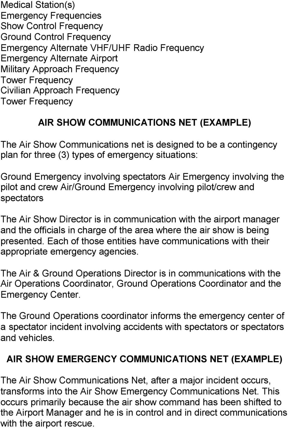 situations: Ground Emergency involving spectators Air Emergency involving the pilot and crew Air/Ground Emergency involving pilot/crew and spectators The Air Show Director is in communication with