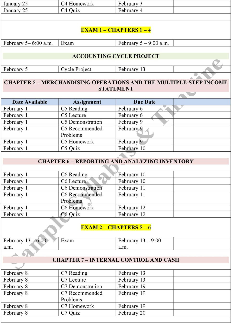Exam February 5 9:00 a.m. ACCOUNTING CYCLE PROJECT February 5 Cycle Project February 13 CHAPTER 5 MERCHANDISING OPERATIONS AND THE MULTIPLE-STEP INCOME STATEMENT Date Available Assignment Due Date