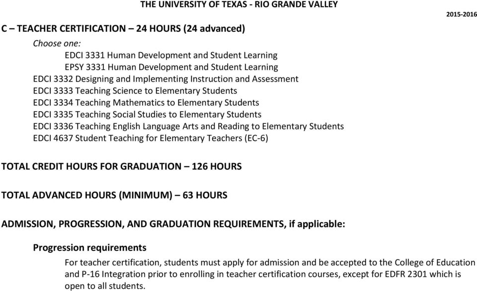 Language Arts and Reading to Elementary Students EDCI 4637 Student Teaching for Elementary Teachers (EC-6) TOTAL CREDIT HOURS FOR GRADUATION 126 HOURS TOTAL ADVANCED HOURS (MINIMUM) 63 HOURS
