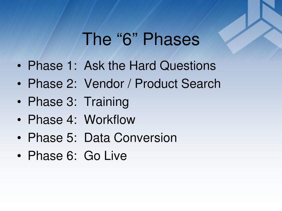 Search Phase 3: Training Phase 4: