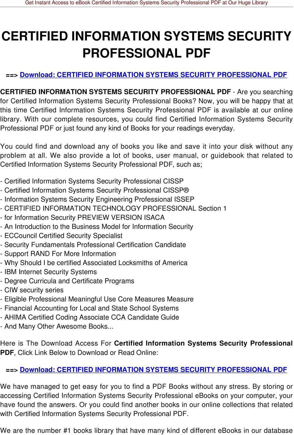 Now, you will be happy that at this time Certified Information Systems Security Professional PDF is available at our online library.
